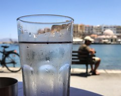 Adam's Ale Harbourside (Cirrusgazer) Tags: cafébar bar drink cool water refreshing refreshment glass condensation harbour harbourside chania oldharbour café relaxing summer