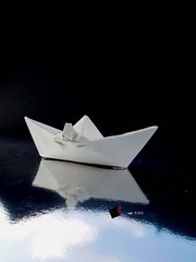 in search of happiness (-sebl-) Tags: refugees origami boat hapiness sebl art message