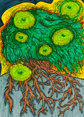 glow (jillian rain snyder) Tags: art illustration mixed media multimedia markers marker pen ink micron colorful artist tree willow firefly glow green nature roots hill sunset landscape
