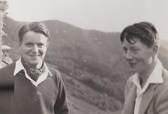 Roy and I Rhine Germany 1953 (Bury Gardener) Tags: bw blackandwhite snaps scans germany rhine 1950s 1953 europe people folks vintage oldies old