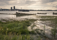 Rainham Concrete Barges (Alan Dell) Tags: landscape thames rainham barges havering