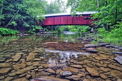 Josiah Hess from Huntington Creek, 2018.07.17 (Aaron Glenn Campbell) Tags: columbiacounty fishingcreektownship huntingtoncreek burrtruss coveredbridge josiahhessno122 forks 3xp ±2ev hdr outdoors lush foliage leaves stream creek weather rain overcast cloudy macphun skylum aurorahdr2017 nikcollection viveza on1effects sony a6000 ilce6000 mirrorless rokinon 12mmf2ncscs wideangle primelens manualfocus emount softfocus glow