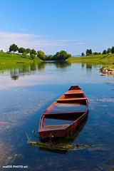 Blue serenity (malioli) Tags: boat river water kupa sky clouds blue riverside tree karlovac croatia hrvatska europe canon