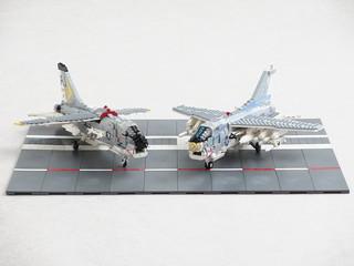 F-8 Crusader and A-7E Corsair II