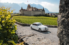 Castle, wineyard and mountains (NaPCo74) Tags: montagne jaguar jag mk mk2 2 ii 1961 wine vin wineyard castle chateau vigne moutain coventry straight 6 six canon eos 700d aigle eagle chablais valais vaud alpes suisse switzerland