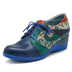 SOCOFY Jacquard Zipper Wedges Heel Leather Shoes (1272631) #Banggood (SuperDeals.BG) Tags: superdeals banggood bags shoes socofy jacquard zipper wedges heel leather 1272631