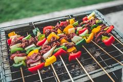 BBQ 2 (Just Juls▲) Tags: food bbq cook meat vegetable skewer outdoor coal capsicum onion leek pepper beef meal