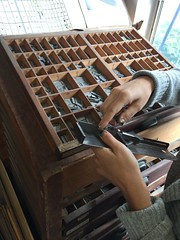 Mallory setting type (artnoose) Tags: cabinet handset stick composing lead metal type setting class workshop letterpress mallory berkeley