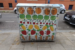 16th July 2018 (themostinept) Tags: myddeltonstreet ec1 london islington clerkenwell vegetables fruit painting pavement street road graffiti streetart