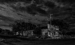 The Mercantile - Kenton Oklahoma (lefturn99) Tags: oklahoma panhandle kenton black mesa night star astrophotography dark sky store general mercantile ghost town small abandoned decay rural low level lighting lll sony a7iii bw white