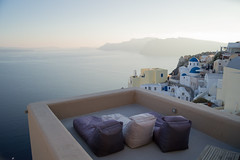 Whitewashed Houses and Church on Cliffs with Sea View and Sunbeds in Oia, Santorini, Cyclades, Greece (MilesAstray) Tags: balkans building cyclades europe greece island mediterranean architecture backdrop balcony bay blue caldera church city cliff coast deckchair dome exterior greek historic holiday honeymoon house nature oia old outdoor panorama picturesque rock romantic santorini sea sky stone street summer sun sunlounger sunbed sunset terrace town travel view vista whitewashed