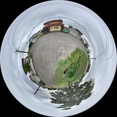 Around Our Neighborhood, variant (sjrankin) Tags: large 2486mb 17july2018 edited kitahiroshima hokkaido japan panorama road cars houses 360degrees sky wires lines park playground