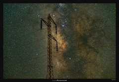 Electrical Storm (Ilan Shacham) Tags: landscape night galaxy stars milkyway view scenic nature power electricity pylon fineart fineartphotography israel negev desert makhteshramon transmission tower