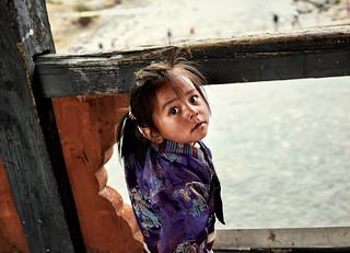 Bhutan: Girl on Bridge.