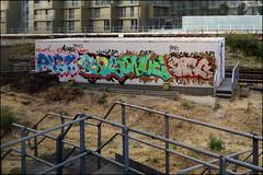 Piez / Func / Onue / Swag (Alex Ellison) Tags: piez funk onue ac swag trackside railway southlondon urban graffiti graff boobs