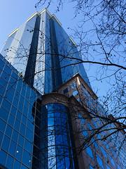 Rialto - Melbourne (Marian Pollock) Tags: australia melbourne victoria city skyscraper reflections clouds windows facade blue sky sunny trees silhouette architecture