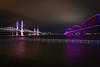 The Ohio runs high (sniggie) Tags: bigfourpedestrianbridge indiana lincolnbridge louisville ohioriver lights nightlights nightphotography