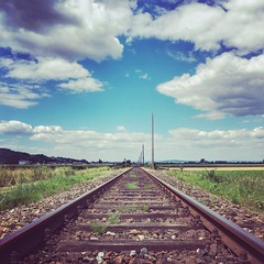WHERE TO GO? (VINCENT MOYASHI) Tags: railways summer clouds sky austria summerday trip mood moment perspective view art