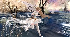 Running On Water (roxxiesukra) Tags: second life secondlife sl role play roleplaying rp character magical girl wings feathers magic angel water skipping flying fly dream glitter sparkle