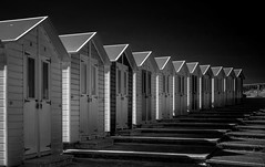 Beach Huts, Bude, Cornwall (silverfox107) Tags: sonyrx100m3 mono bw beachhuts bude cornwall wideangle
