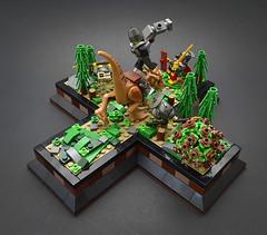 Breach (Back) (Klikstyle) Tags: lego medieval castle knight dinosaur stygimoloch vignette battle