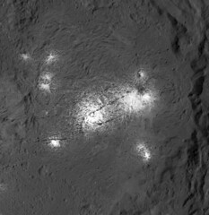 Vinalia Faculae in Occator Crater, variant (sjrankin) Tags: 18july2018 edited nasa grayscale dawn occatorcrater brightspot salt crater primage ceres vinaliafaculae pia21925