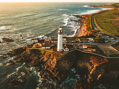 Pigeon Point Lighthouse (Todd Danger Farr) Tags: california lighthouse pigeonpoint sunset waves ocean mavic drone coast sea highway1 rocks