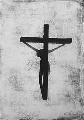 Crucifix - Tribute to Mario Sgargi (Spiriòn) (Federici Luca) Tags: gumoil gumprint sunprint gumbichromate alternativeprocess altproc alternativephotography contactprinting blackandwhite bw shadowsonthewall nukeshadows postapocalyptic postnuke apocalypse endoftheworld