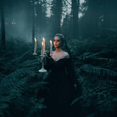 The Black Widow (Adam Bird Photography) Tags: adambirdphotography adambird candle fire flame light forest dark green cinematic blue landscape square surreal fantasy story conceptual fashion