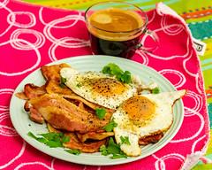 Sunday breakfast. Bacon and eggs with coffee. (garydlum) Tags: belconnen friedegg streakybacon bacon canberra coffee eggs parkes australiancapitalterritory australia au