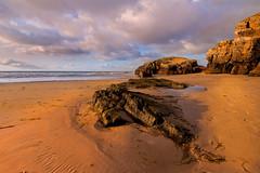 Galizia.  Galicia (franco nadalin) Tags: atlantic galicia ribadeo beach cliff clouds coast holidays landmark landscape nature ocean rocks sand sea sky spain sunny sunset tourism travel vacation water
