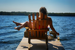 Summer Days (flashfix) Tags: july082018 2018inphotos ottawa ontario canada flashfix flashfixphotography nikon nikond7100 d7100 40mm water lake dock chair woman beer selfportrait portrait perth nature mothernature ottylake bottle corona kettle