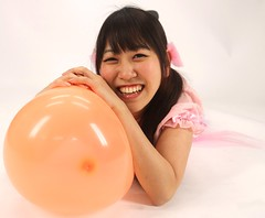 She'll Laugh At You Until (emotiroi auranaut) Tags: girl woman lady pretty beauty cute adorable beautiful attractive pink dress orange toy balloon squeak laugh laughing laughter giggle giggling