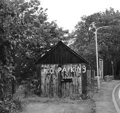 No Parking (BurnThePlans) Tags: shed garage old worn weathered noparking