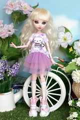 Lilac outfit with cat (Elena_art) Tags: monsterhigh eah everafterhigh drakuloura ooak outfit handmade etsy