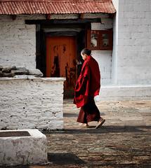 Butan: Little Monk at Paro Dzong. (icarium.imagery) Tags: canoneos5dmarkiv sigma100400mmf563dgoshsmart bhutan buddhist captureone child drukyul dzong famoussight fortress himalaya historic monk red robe monastery naturallight parotaktsang portrait street traditional traditionaldress travel rinpungdzong