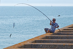 Double catch (Geoff Henson) Tags: fish fishing fisherman line mackerel pier sea water sky angler angling rod