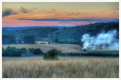 Lineside fires caused by arsonists setting fire to hay bales between Bath and Saltford 24th July 2018 during the heatwave. Against a sunset. (livinginhtab) Tags: arson fire lineside hay sunset arsonist train railway