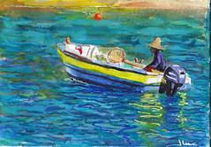 Martinique: arrivée en catamaran sur l'Anse noire (Jluc22fr) Tags: jluc painting watercolor travel martinique 2017 wip final westindies