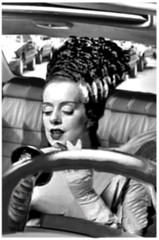 Applying makeup in the moving car you're driving can be the 'death' of you. (Fotofricassee) Tags: frankenstein bride car driving makeup