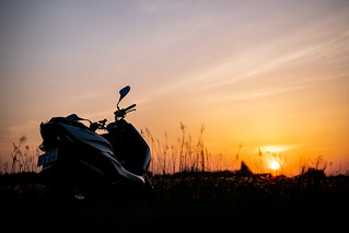 Sunset and motorcycle