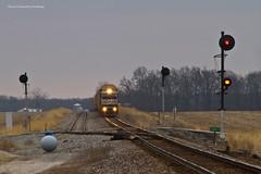 Take Siding at Corbett (tim_1522) Tags: railroad railfanning rail missouri mo norfolksouthern ns springfield hannibal district searchlight signals generalelectric emd sd60e c408w