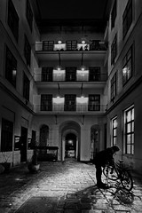 flat in the coutyard (heinzkren) Tags: puncture blowout plattfus bicycle bike innenhof durchgang biedermeier light shadow city urban old altbau schwarzweis blackandwhite bw sw monochrome panne mann man building gebäude wien vienna austria street streetphotography historisch licht schatten historic wideangle weitwinkel panasonic lumix windows fenster wohnbau noiretblanc biancoetnero gate