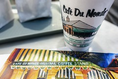 Cafe Du Monde card and styrofoam cup (Victor Wong (sfe-co2)) Tags: art barista beignet blurred brasserie breakfast busy cafe du monde cajun chicory closeup coffee crowd cuisine culture cup customer defocused design donut doughnut drink editorial european famous food france french quarter iconic illustration indoor interior leisure lifestyle logo louisiana new orleans old pastry people restaurant retail shop street styrofoam sugar sweet table town traditional travel urban usa