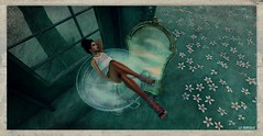 Like an olive in a martini dry ☺ (La Baroque (Laura) ️♡thnx for your visits️) Tags: mirror door woman girl heels glass flowers green secondlife filthysakura pearls