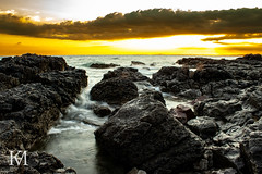 Sunset over the Rock Pool in Rest Bay, Porthcawl, Wales (kylemarham) Tags: water beach dark light wales bridgend porthcawl