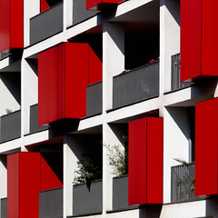 balcony abstract#1 (morbs06) Tags: düsseldorf abstract architecture balcony balustrade box building city colour facade geometry light lines pattern red repetition rot shadow square stripes texture white