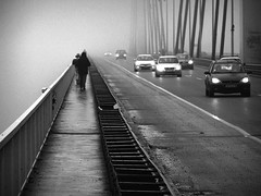 Roads (D D photography) Tags: blackandwhite grayscale bridge roads crossroads walk walking alone photo photography direction fog