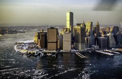 Manhattan by Helicopter in 1976 (Tony Tomlin) Tags: newyorkcity manhattan worldtradecenter 1976 riverice s61l
