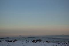 The two ferries just before sunrise (Beathe) Tags: horten moss weather light morning cloud fog dis skyer lavtskydekke ferry bastøferga bastøfosen img7172